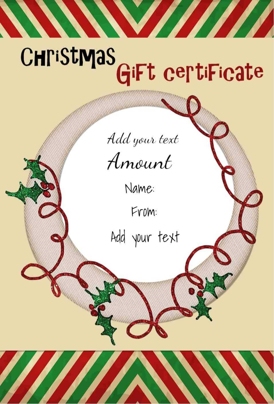 Free Christmas Gift Certificate Template | Customize Online Regarding Christmas Gift Certificate Template Free Download