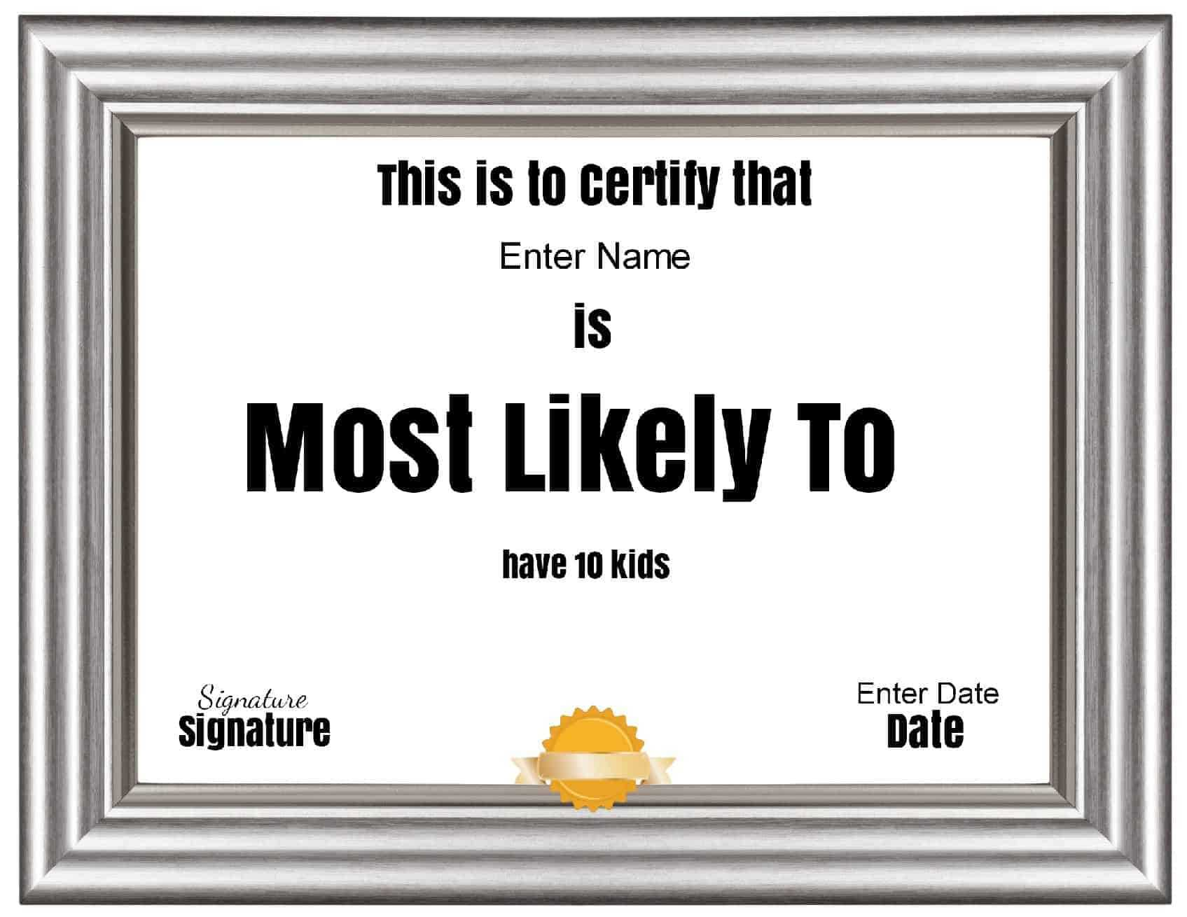 """Free Customizable """"most Likely To Awards"""" Intended For Free Printable Funny Certificate Templates"""