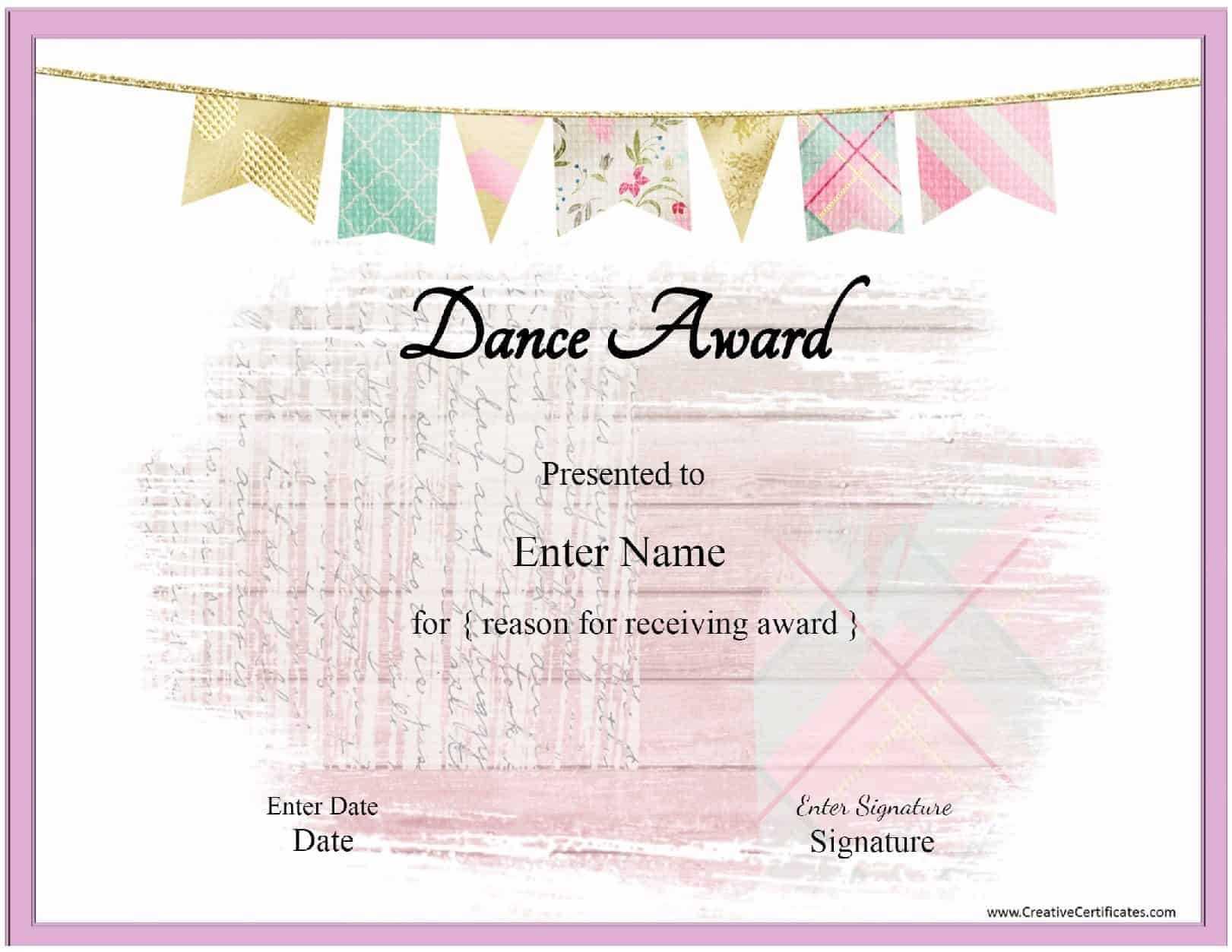 Free Dance Certificate Template - Customizable And Printable Intended For Dance Certificate Template