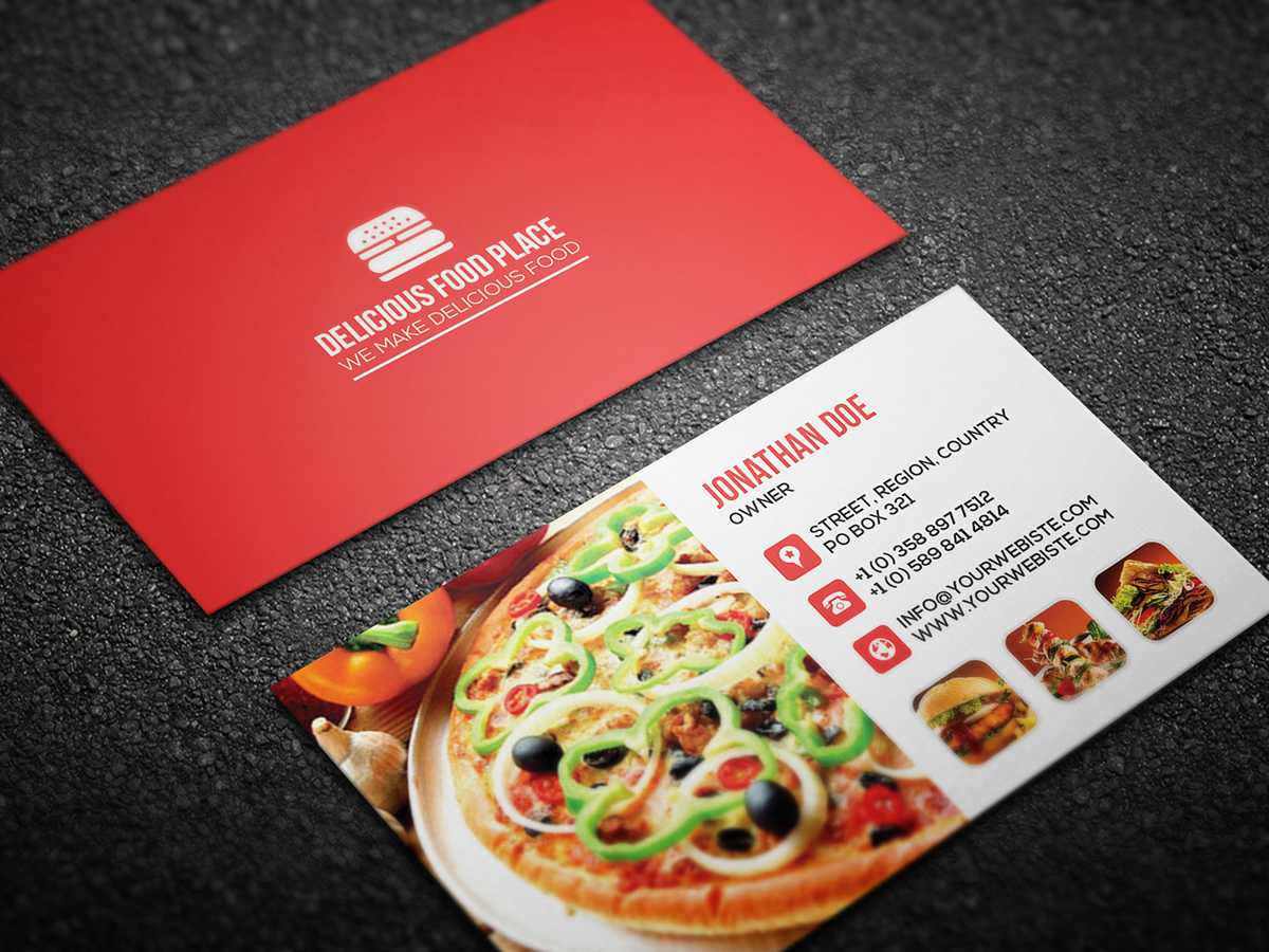 Free Delicious Food Business Card On Behance Inside Food Business Cards Templates Free