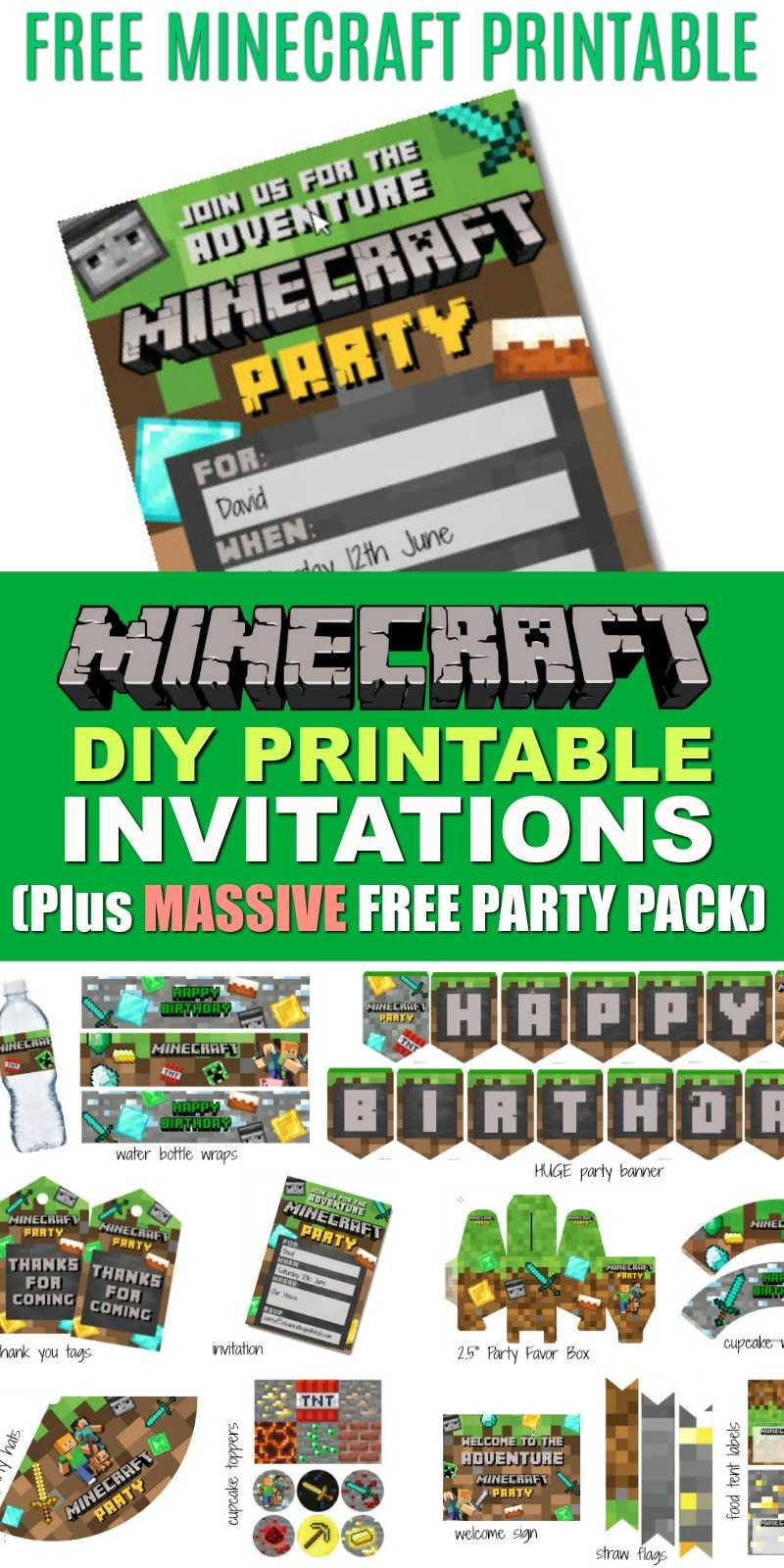 Free Diy Printable Minecraft Birthday Invitation - Clean In Minecraft Birthday Card Template
