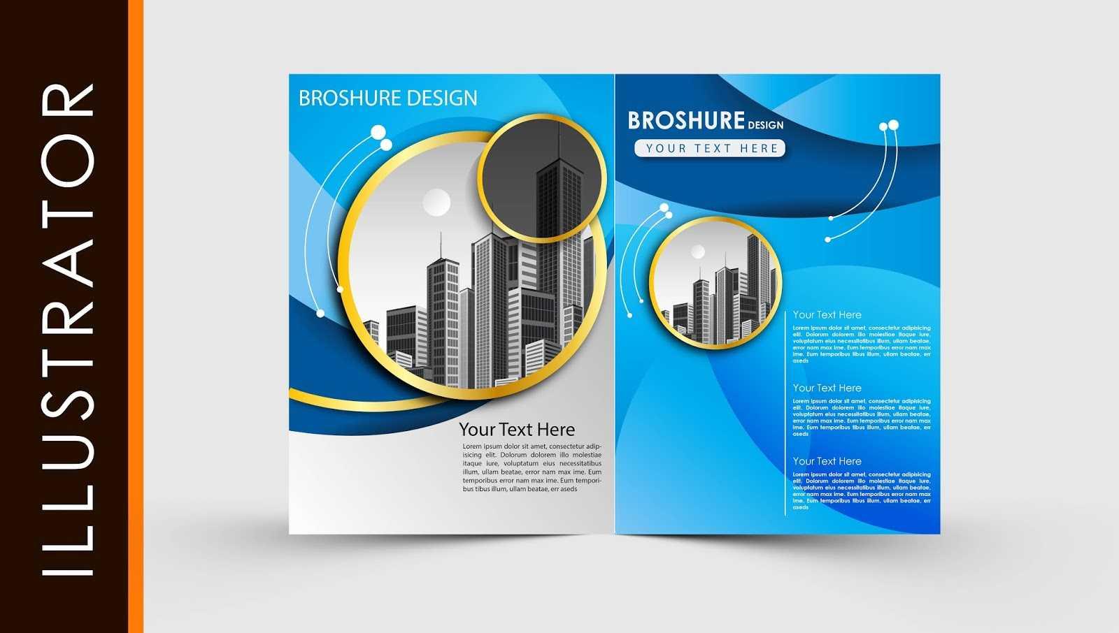Free Download Adobe Illustrator Template Brochure Two Fold Regarding Brochure Templates Ai Free Download