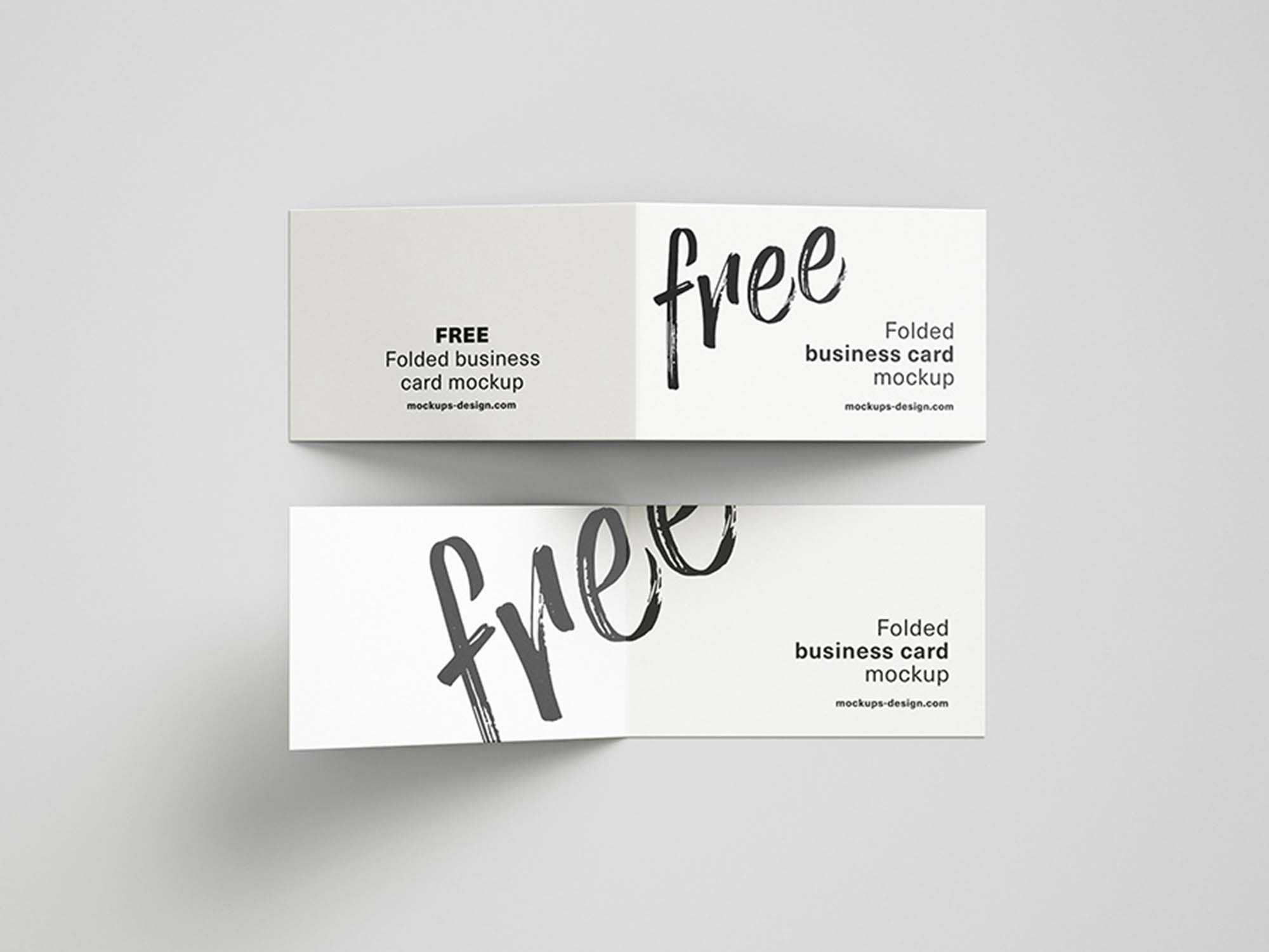 Free Folded Business Cards Mockup (Psd) In Fold Over Business Card Template