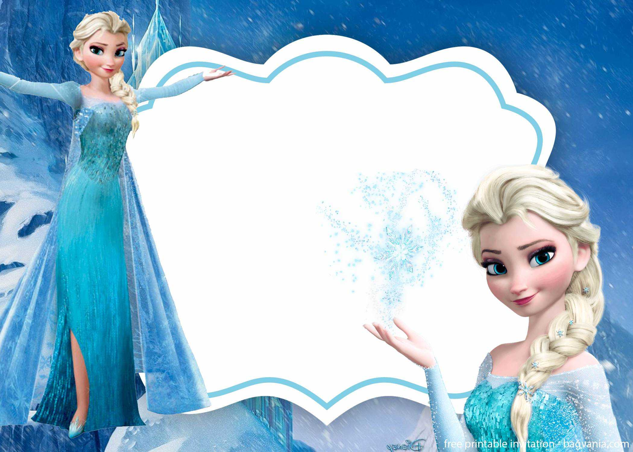 Free Frozen Invitation Template - Printable – Bagvania Within Frozen Birthday Card Template