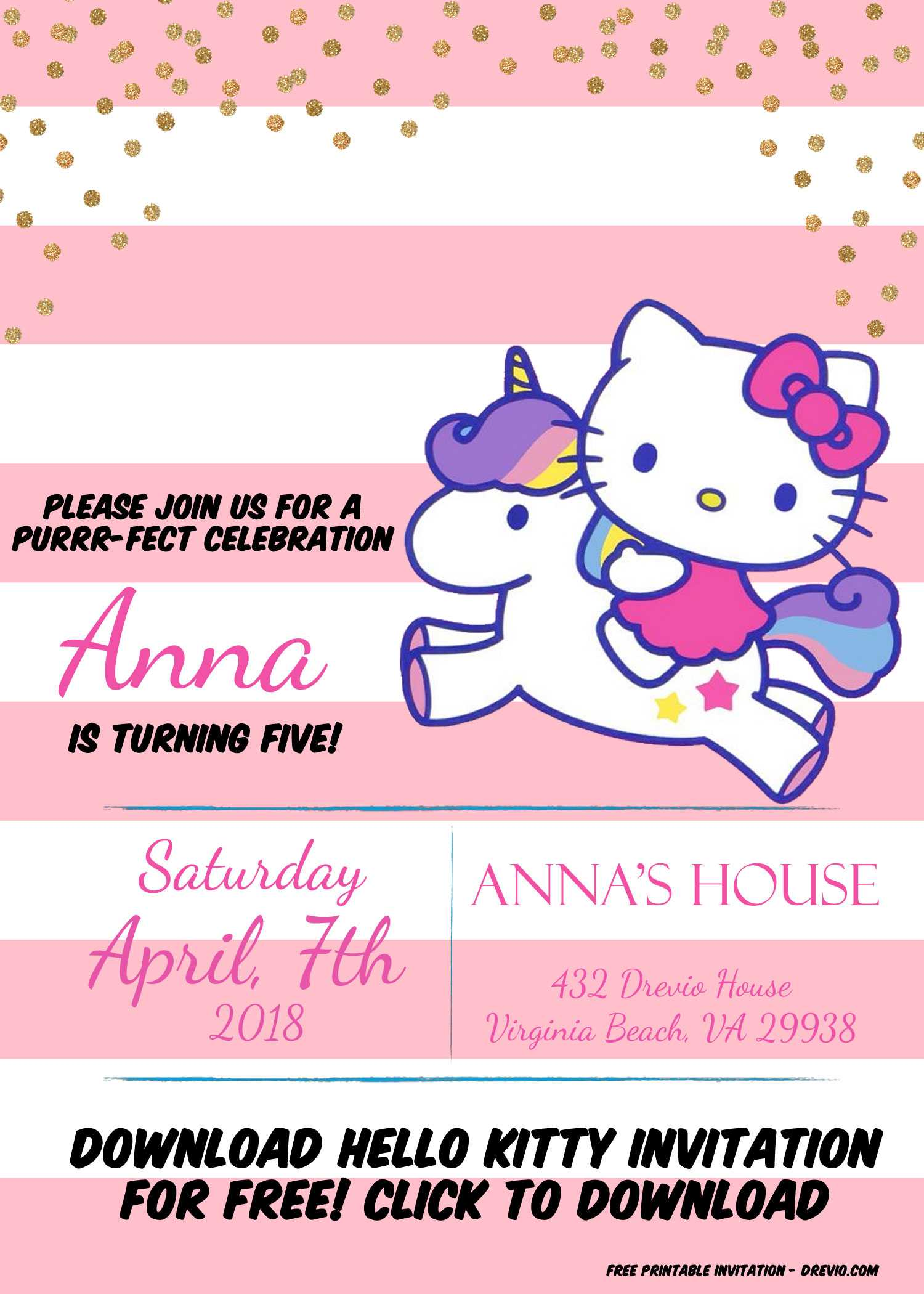 Free Hello Kitty Unicorn Invitation Template – Bagvania With Regard To Hello Kitty Birthday Card Template Free