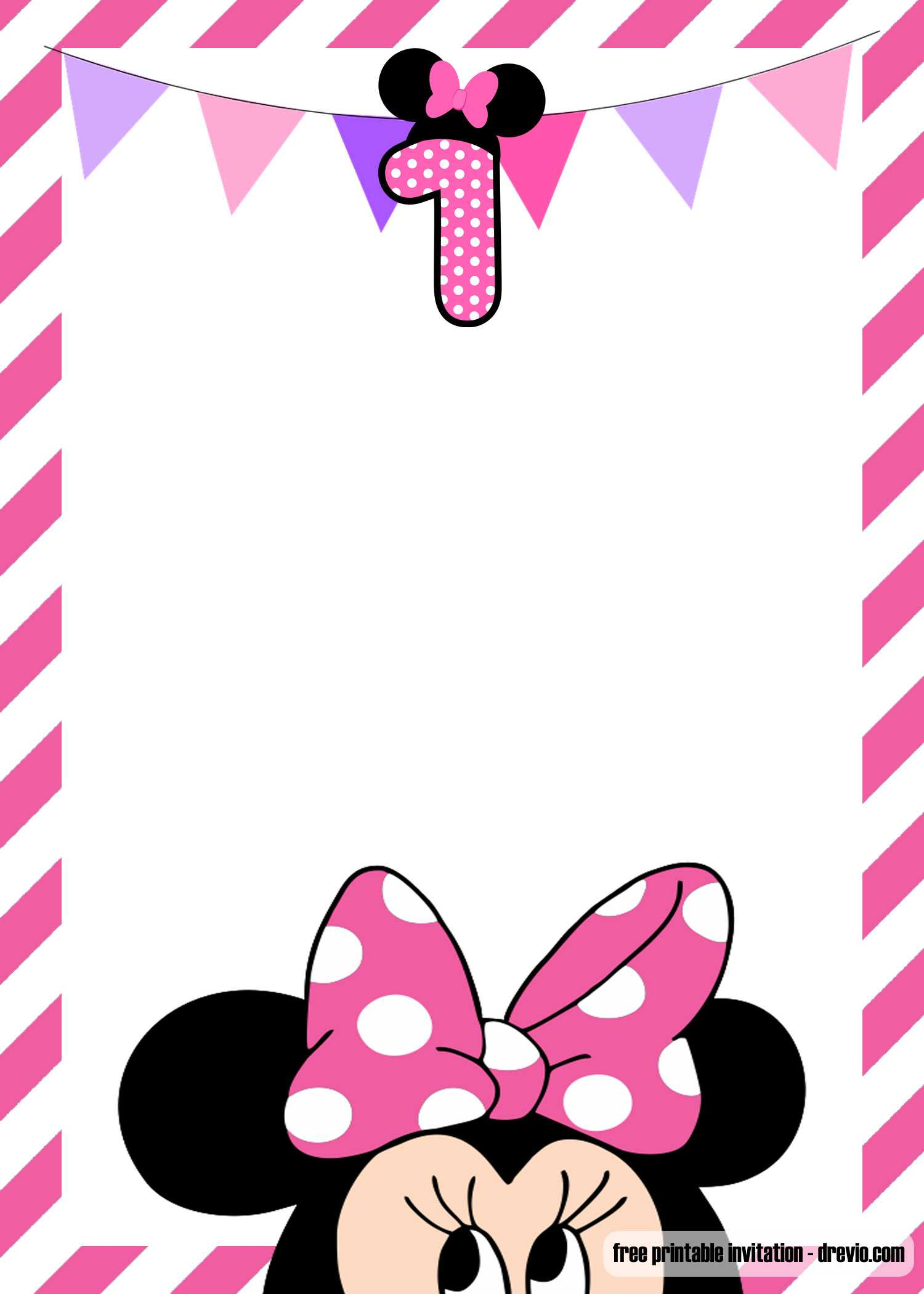 Free Minnie Mouse 1St Birthday Invitation Templates – Bagvania Pertaining To Minnie Mouse Card Templates