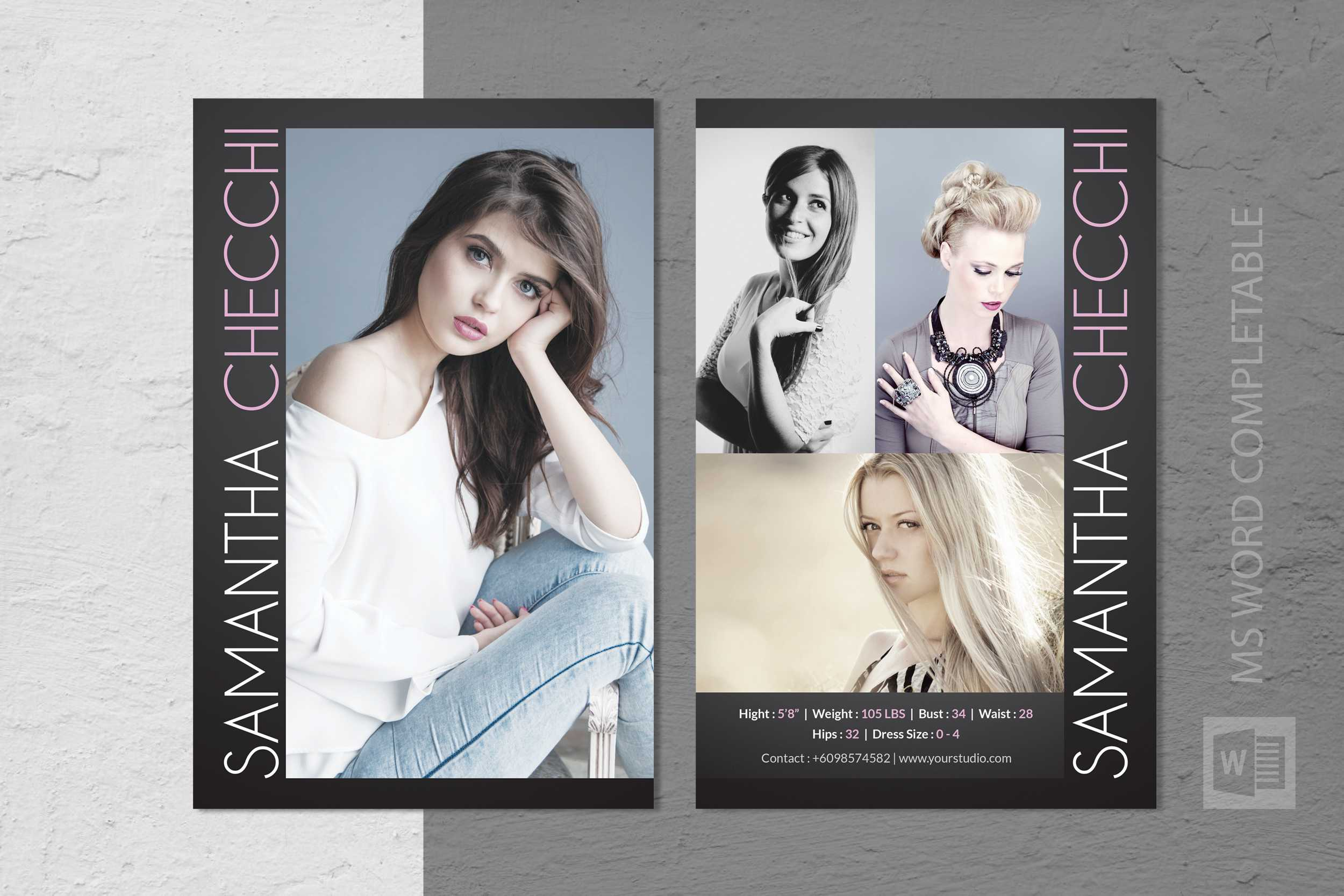 Free Model Comp Card Templates - C Punkt In Free Zed Card Template
