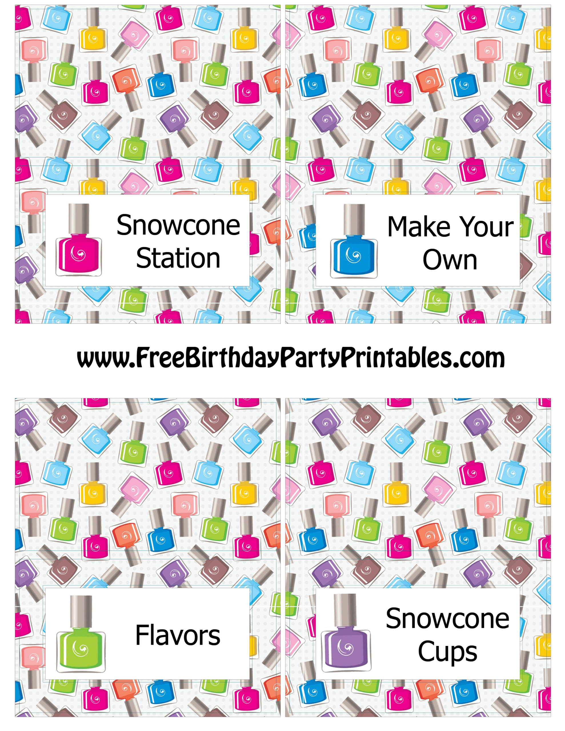 Free Nail Polish Birthday Party Printables Pink And Grey With Free Printable Tent Card Template