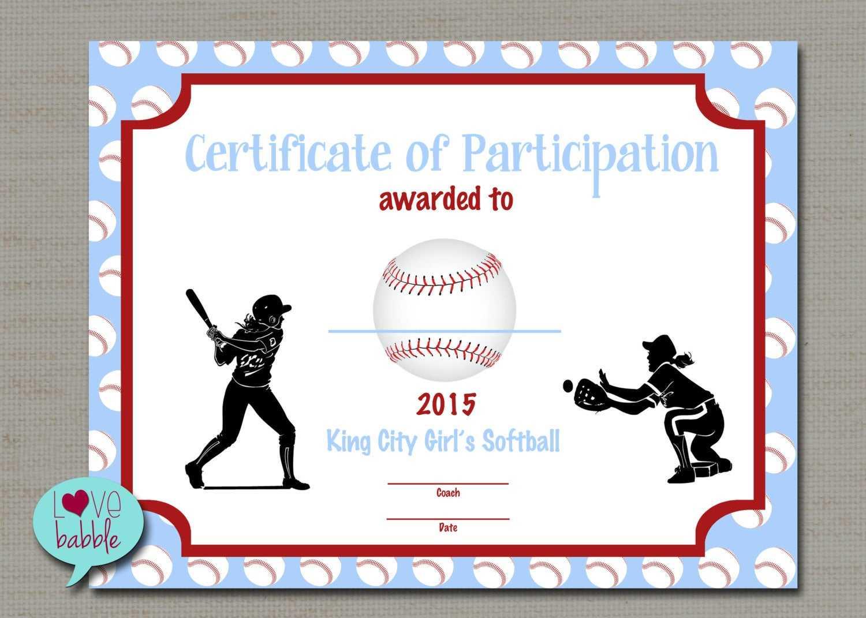 Free Printable Baseball Award Certificates Templates For Free Softball Certificate Templates