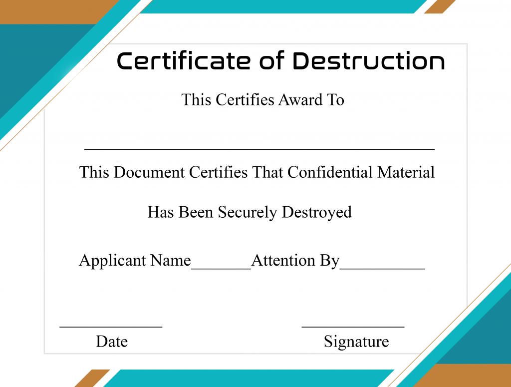 Free Printable Certificate Of Destruction Sample Throughout Certificate Of Destruction Template