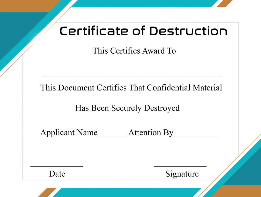 Free Printable Certificate Of Destruction Sample Throughout Running Certificates Templates Free