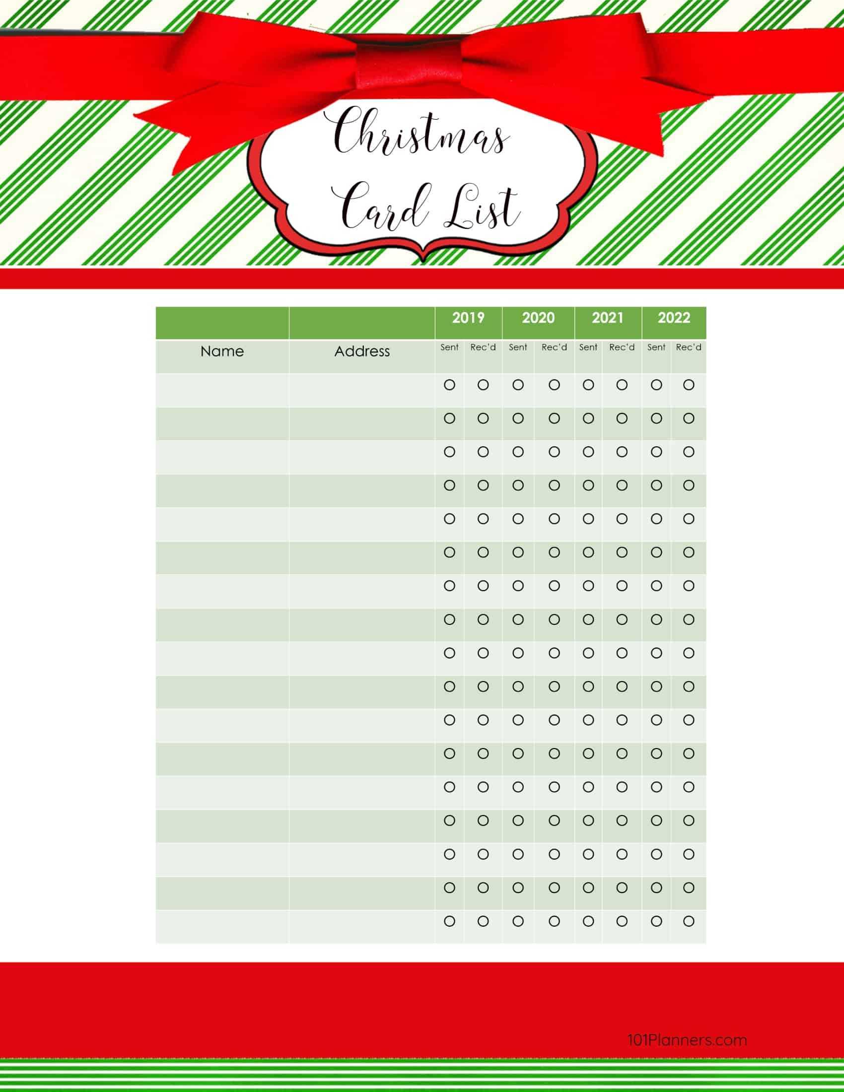 Free Printable Christmas Gift List Template Intended For Christmas Card List Template