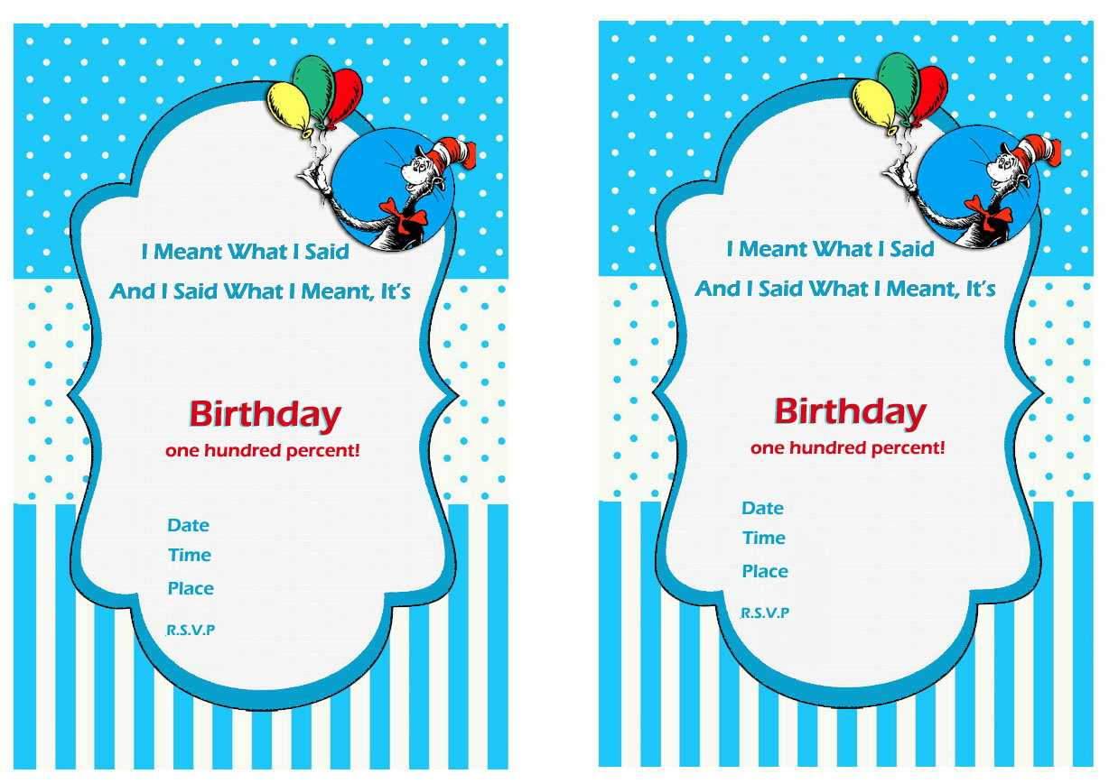 Free Printable Dr Seuss First Birthday Invitations – Bagvania Throughout Dr Seuss Birthday Card Template