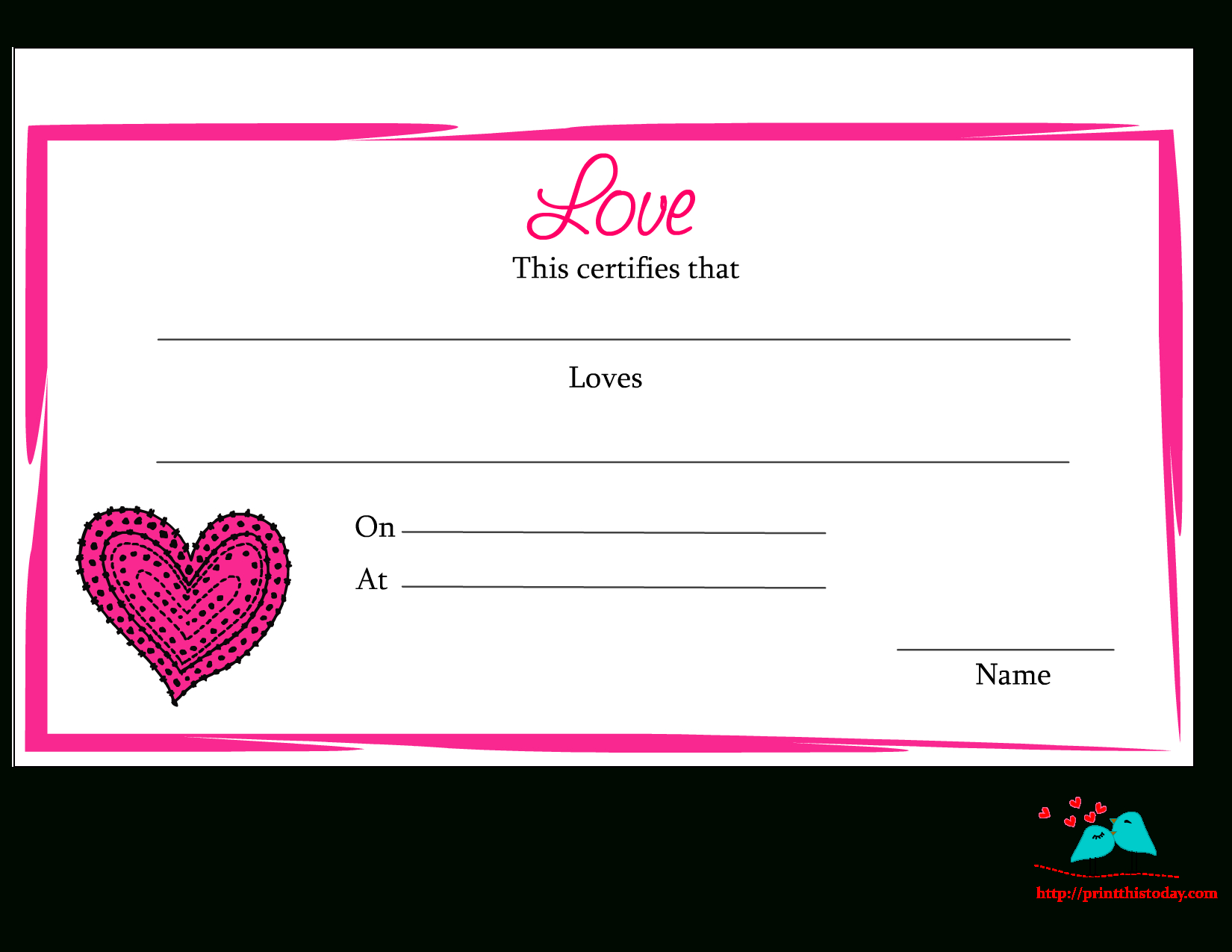 Free Printable Love Certificates Inside Love Certificate Templates