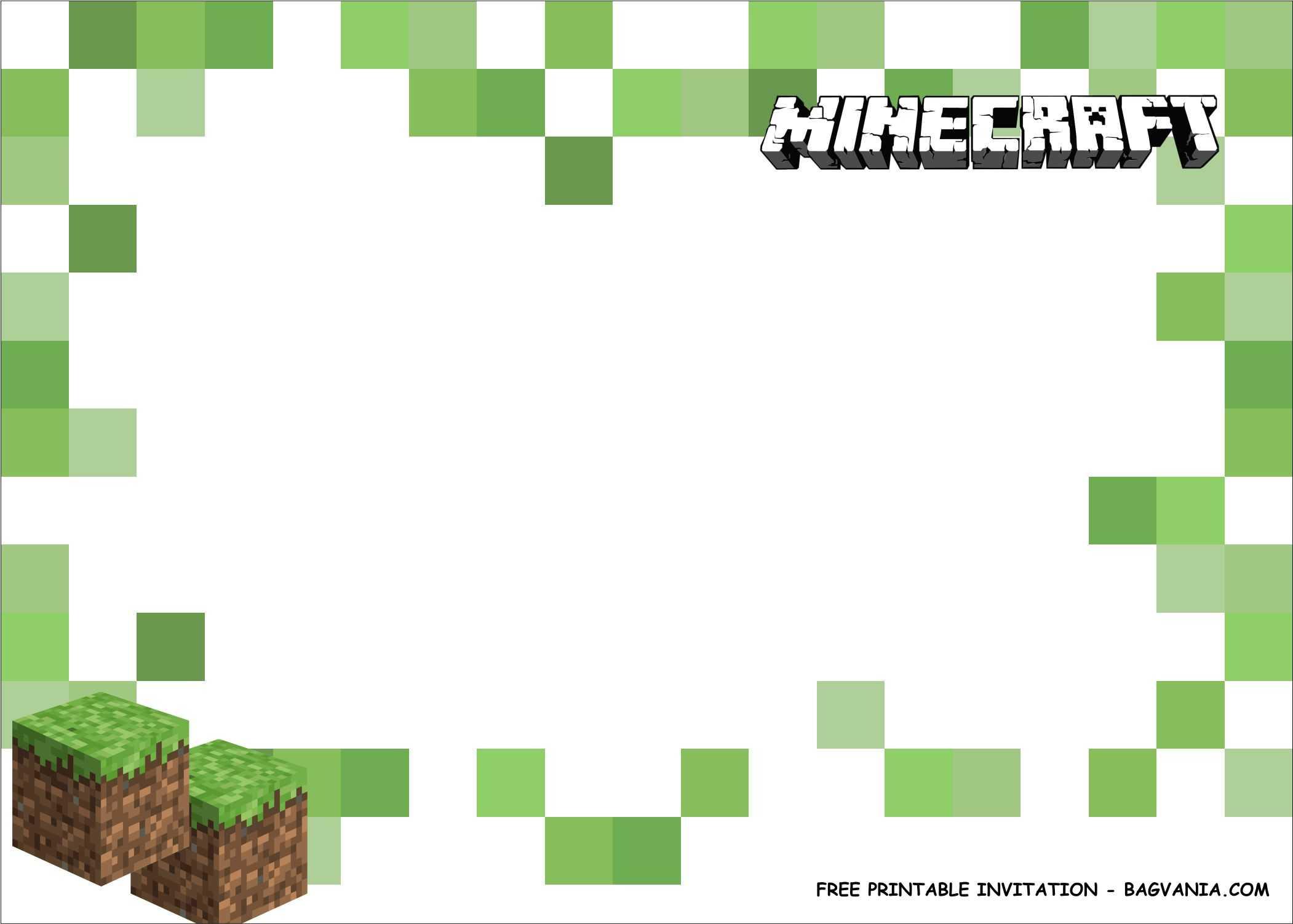 Free Printable) - Minecraft Birthday Party Kits Template For Minecraft Birthday Card Template