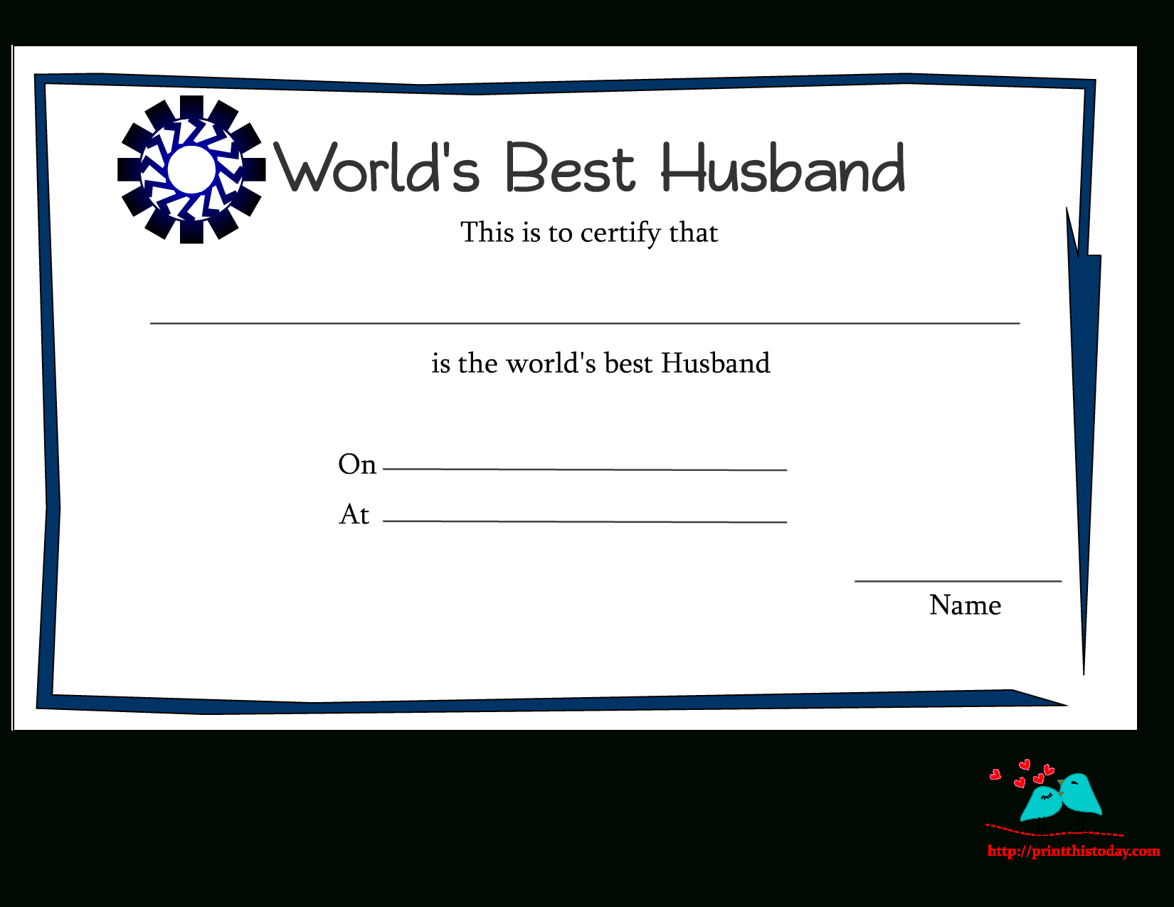 Free Printable World's Best Husband Certificates In Anniversary Certificate Template Free