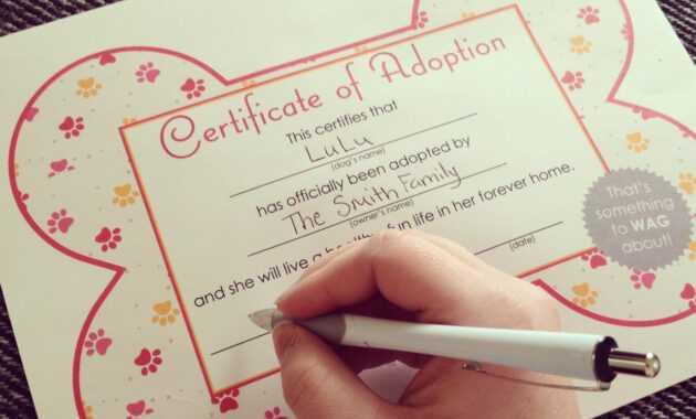 Free Printables} Dog Adoption Certificates | Big Dot Of with regard to Pet Adoption Certificate Template