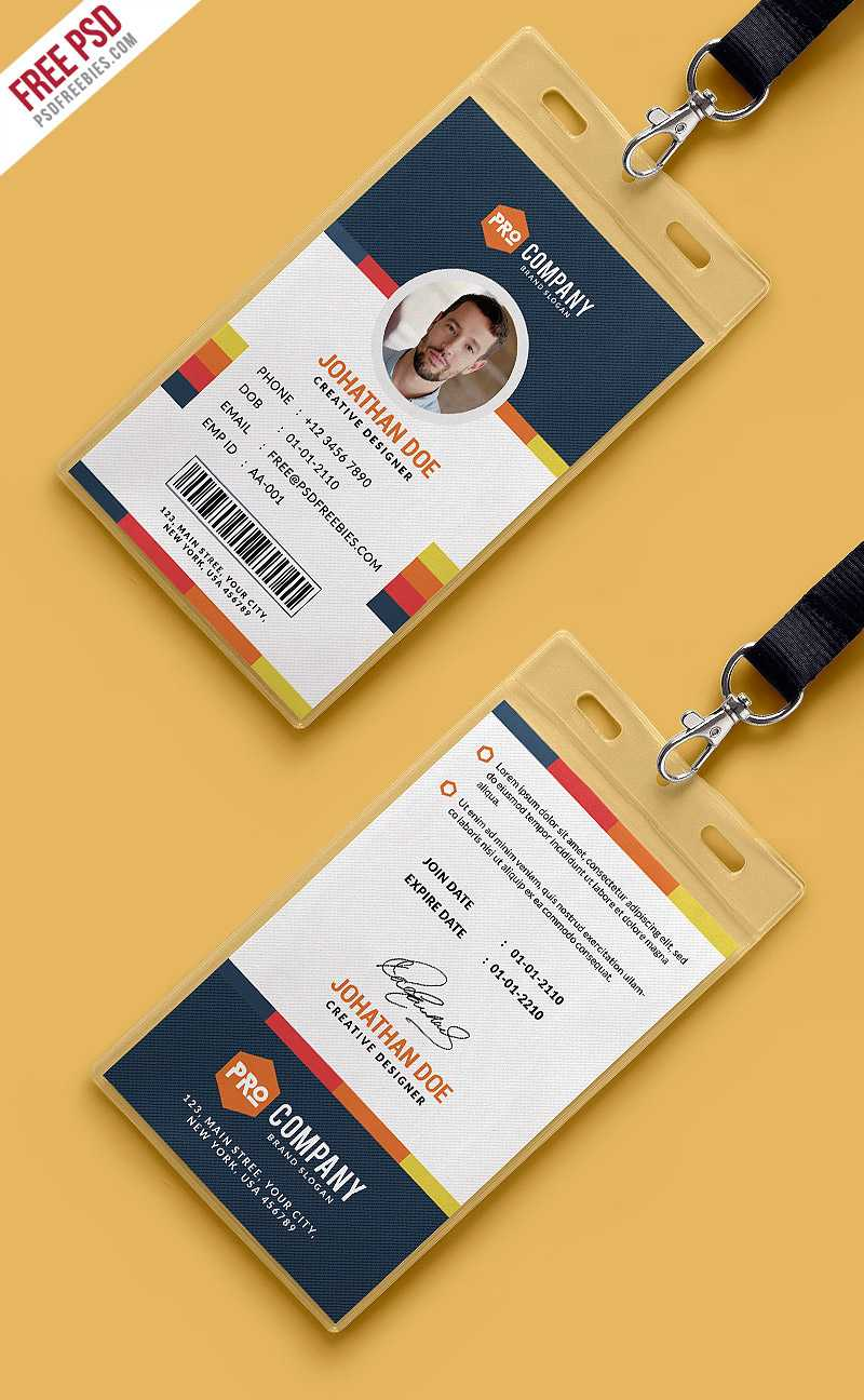 Free Psd : Creative Office Identity Card Template Psd On Behance For Id Card Design Template Psd Free Download