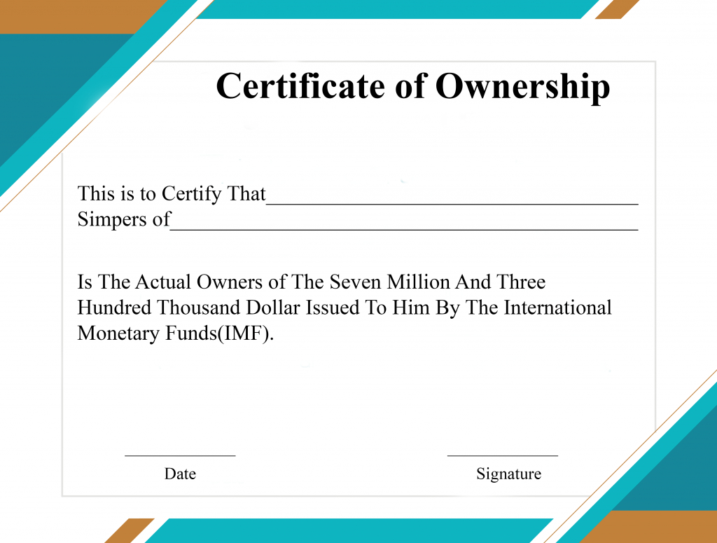 Free Sample Certificate Of Ownership Templates | Certificate Within Ownership Certificate Template