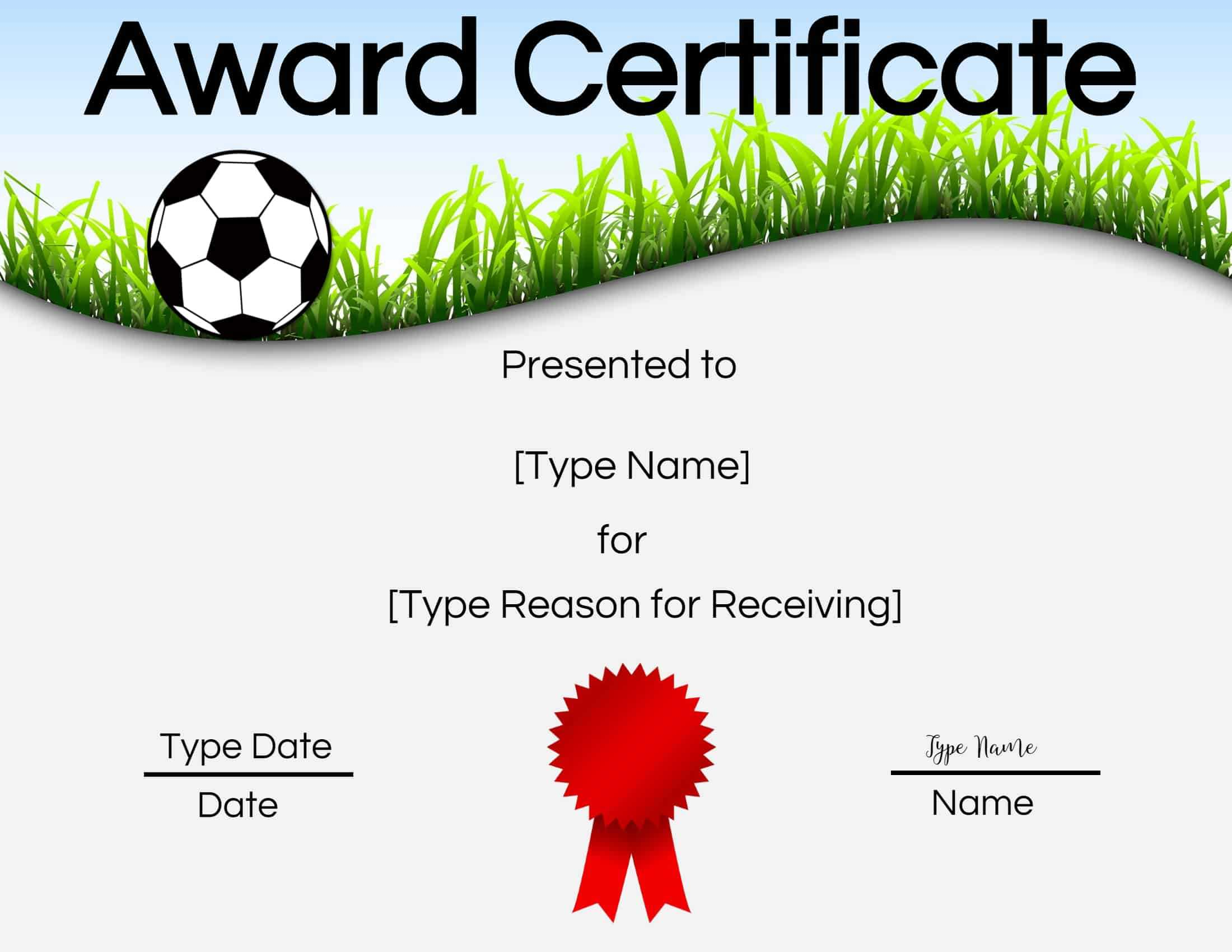 Free Soccer Certificate Maker | Edit Online And Print At Home Throughout Soccer Certificate Template Free
