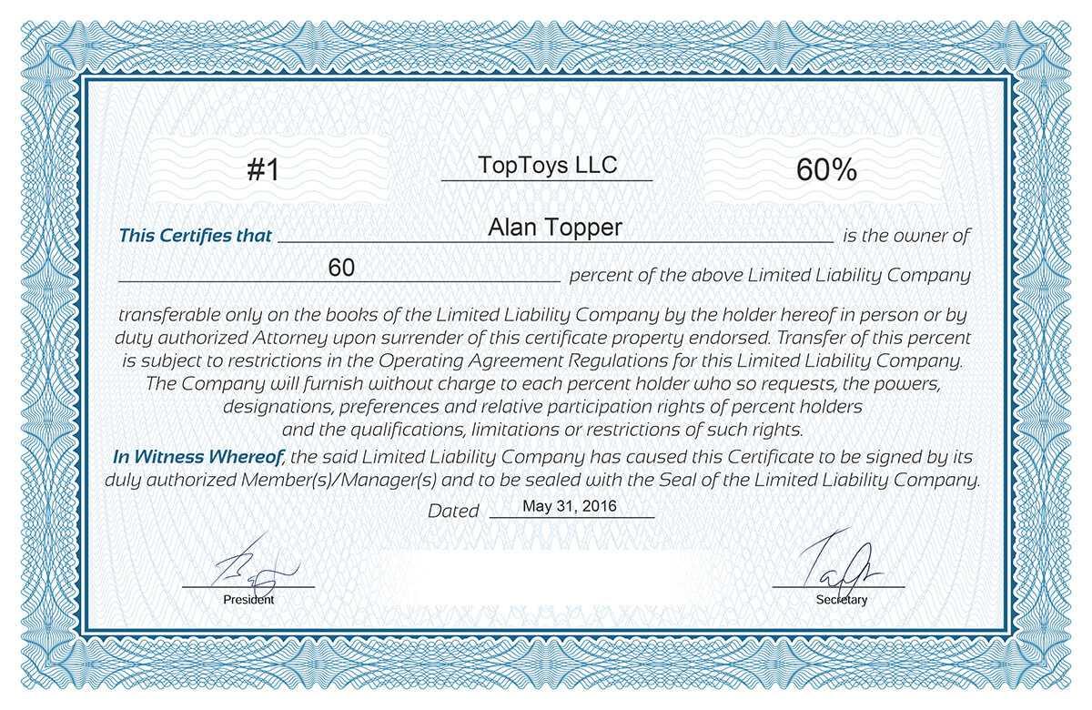 Free Stock Certificate Online Generator In Certificate Of Ownership Template