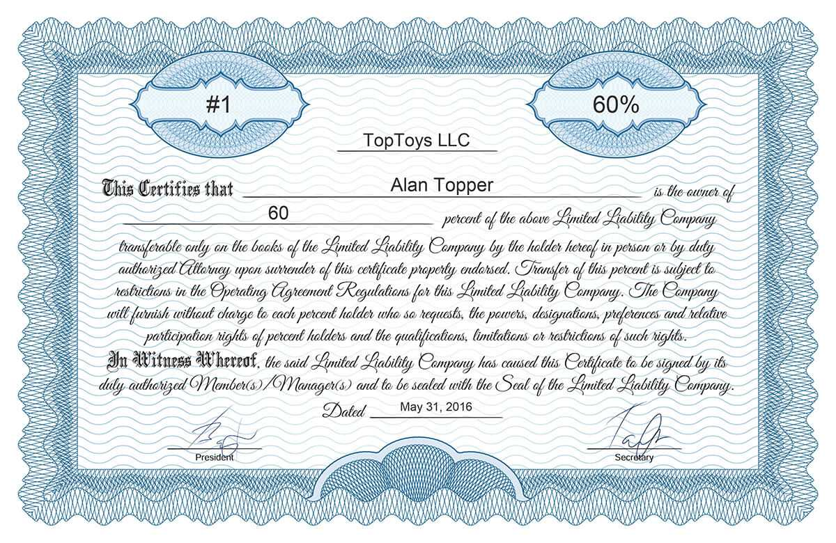 Free Stock Certificate Online Generator Pertaining To Llc Membership Certificate Template