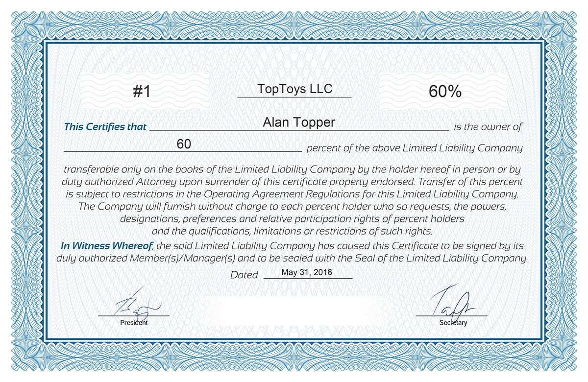 Free Stock Certificate Online Generator Throughout Ownership Certificate Template