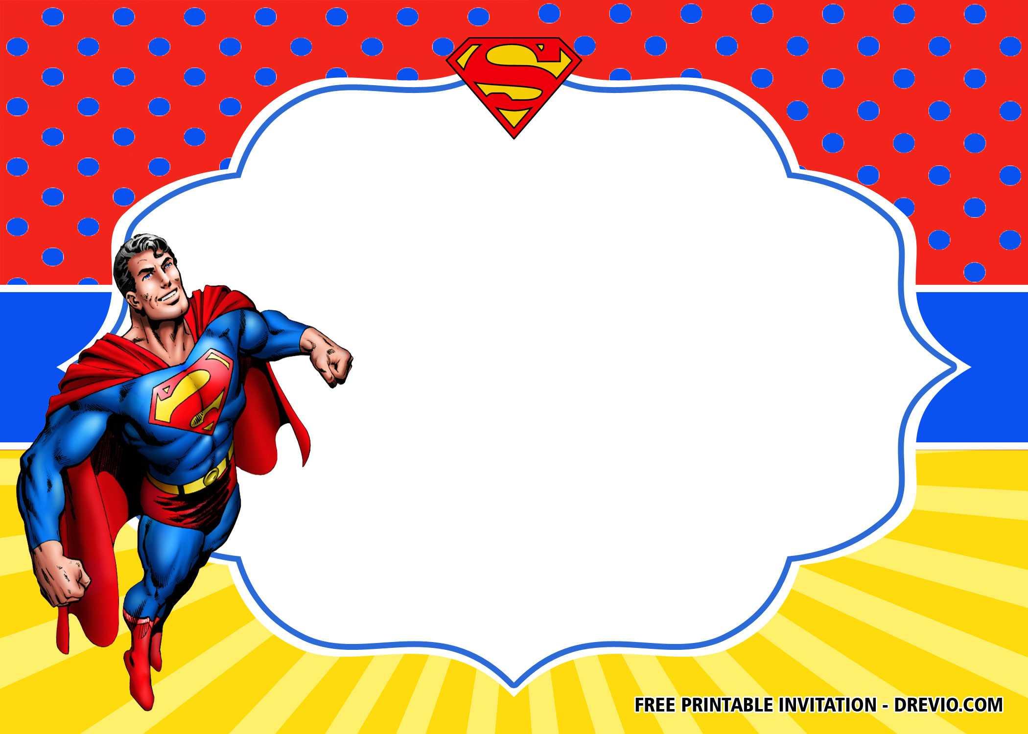 Free Superhero Superman Birthday Invitation Templates – Bagvania With Regard To Superhero Birthday Card Template