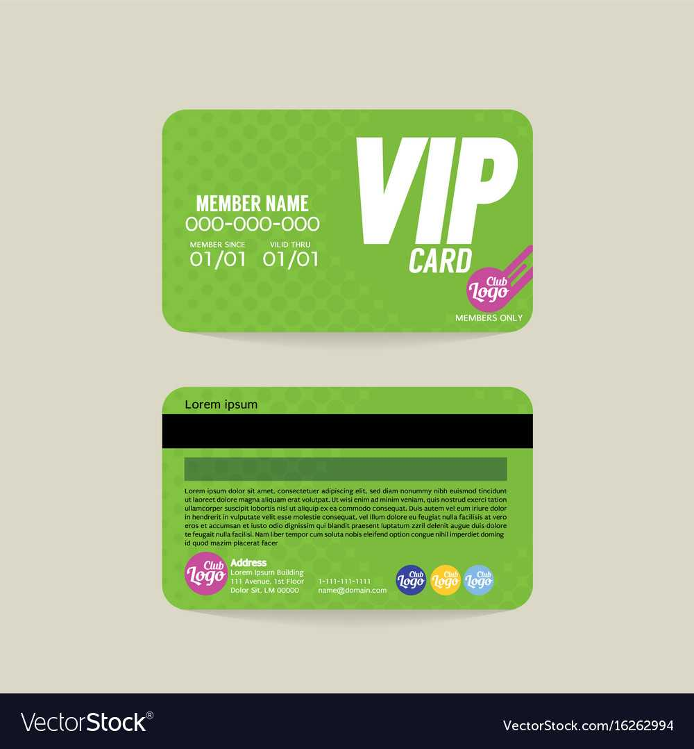 Front And Back Vip Member Card Template With Regard To Membership Card Template Free