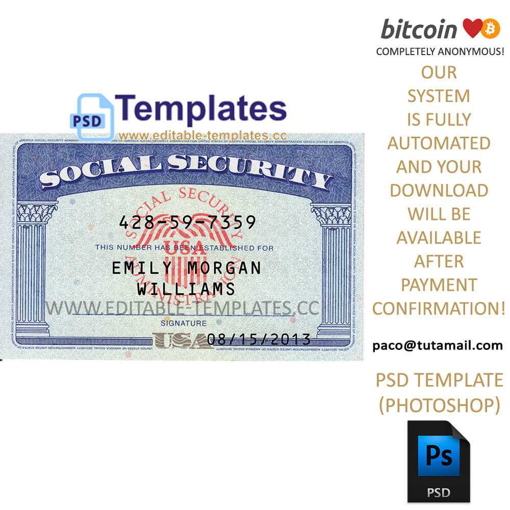 Fully Editable Ssn Usa Psd Template Intended For Social Security Card Template Photoshop