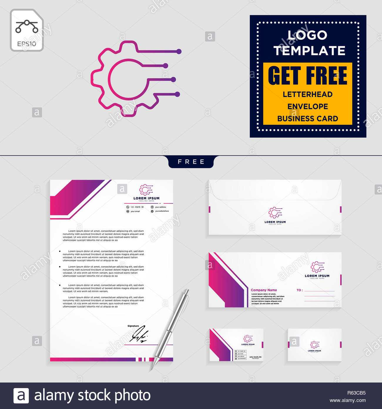 Gear, And Business Chart Logo Template Vector Illustration For Business Card Letterhead Envelope Template