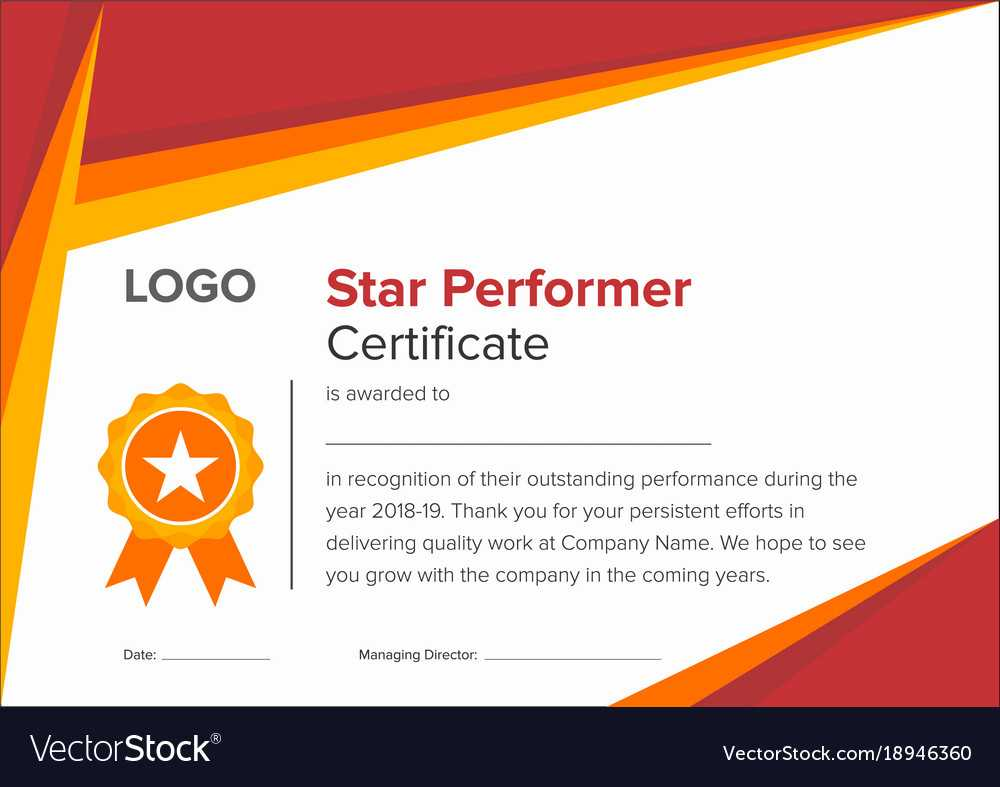 Geometric Red And Gold Star Performer Certificate Pertaining To Star Performer Certificate Templates