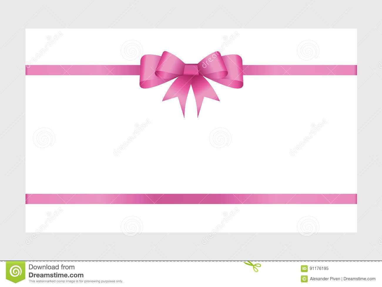 Gift Card With Pink Ribbon And A Bow Stock Vector Regarding Pink Gift Certificate Template