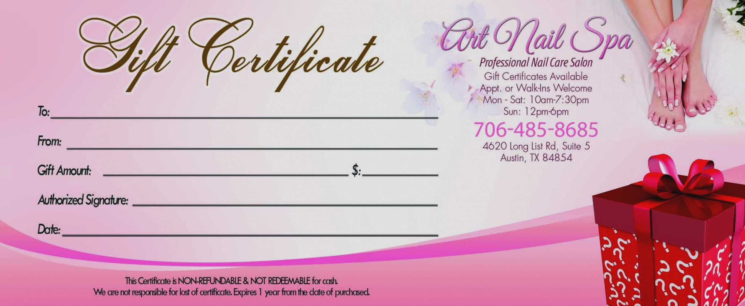 Gift Certificate Template For Nail Salon Throughout Salon Gift Certificate Template