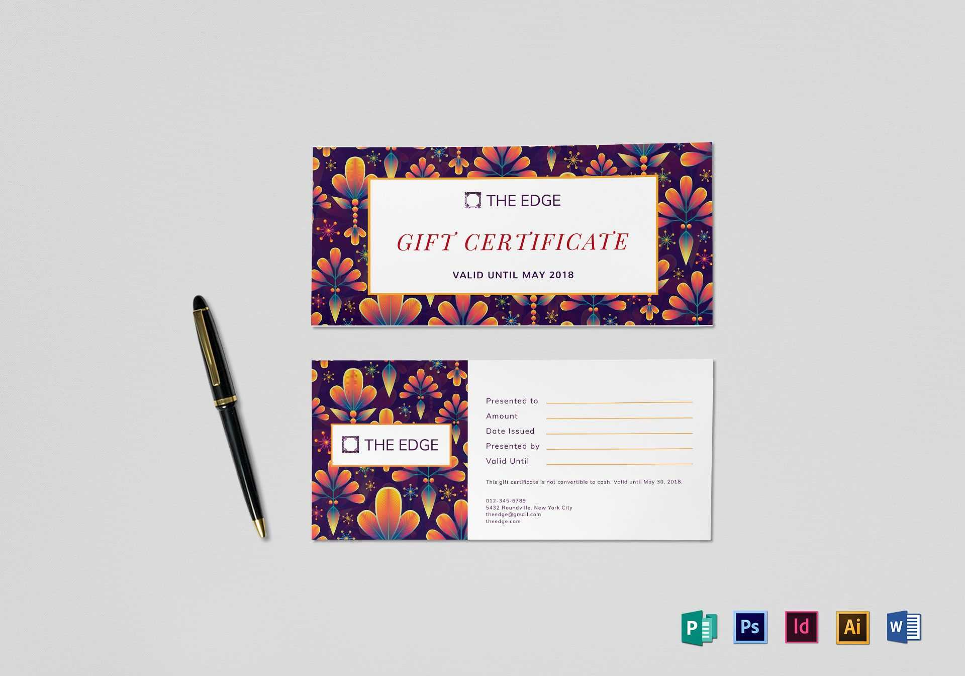 Gift Certificate Template Within Gift Certificate Template Indesign