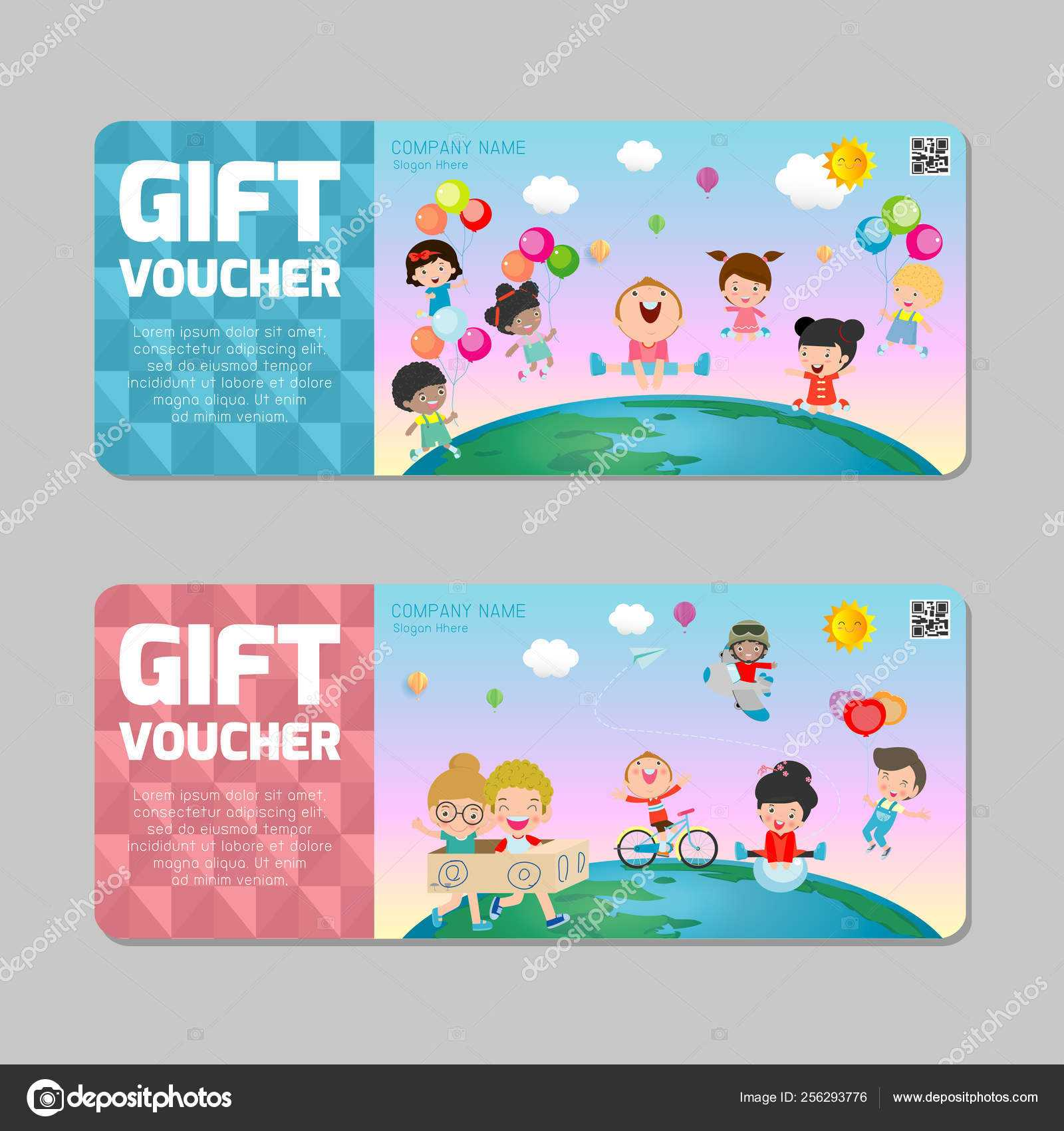 Gift Voucher Template Colorful Pattern Cute Gift Voucher With Kids Gift Certificate Template