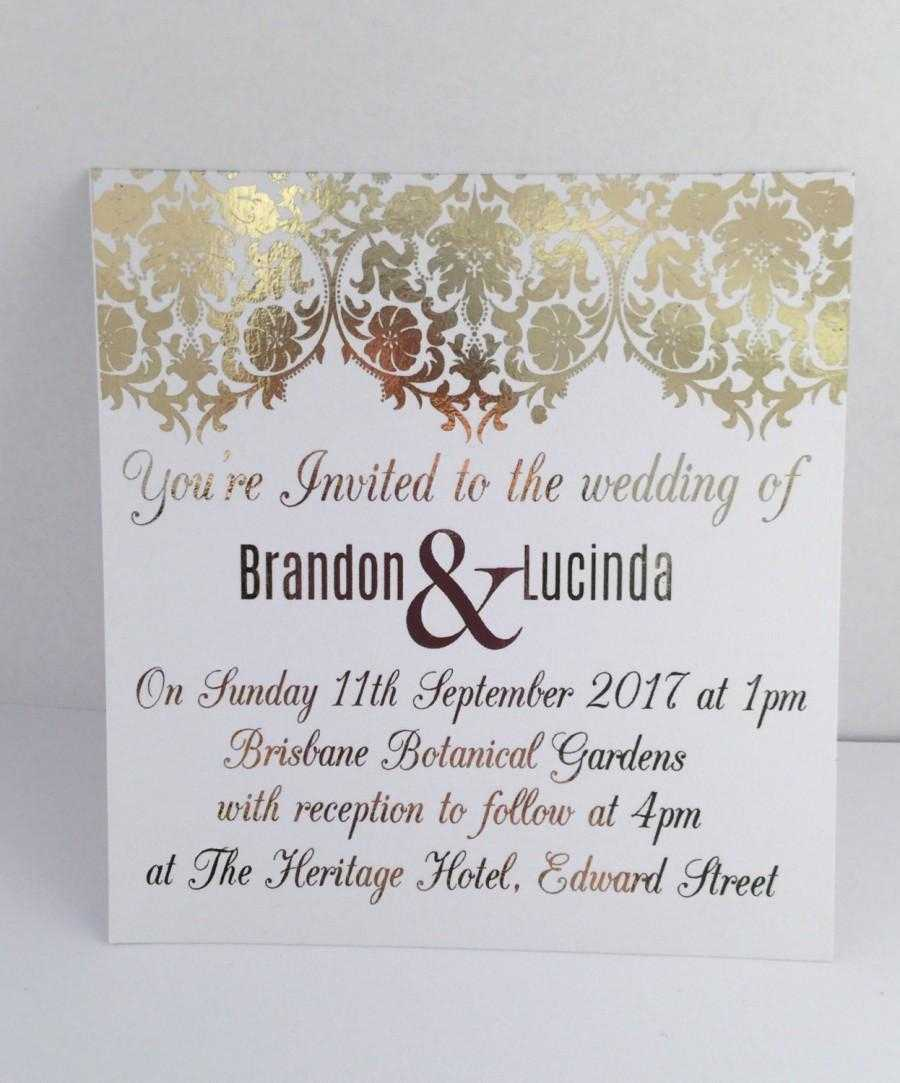 Gold Foil Wedding Invitation Set With Rsvp Card - Sample Pertaining To Engagement Invitation Card Template