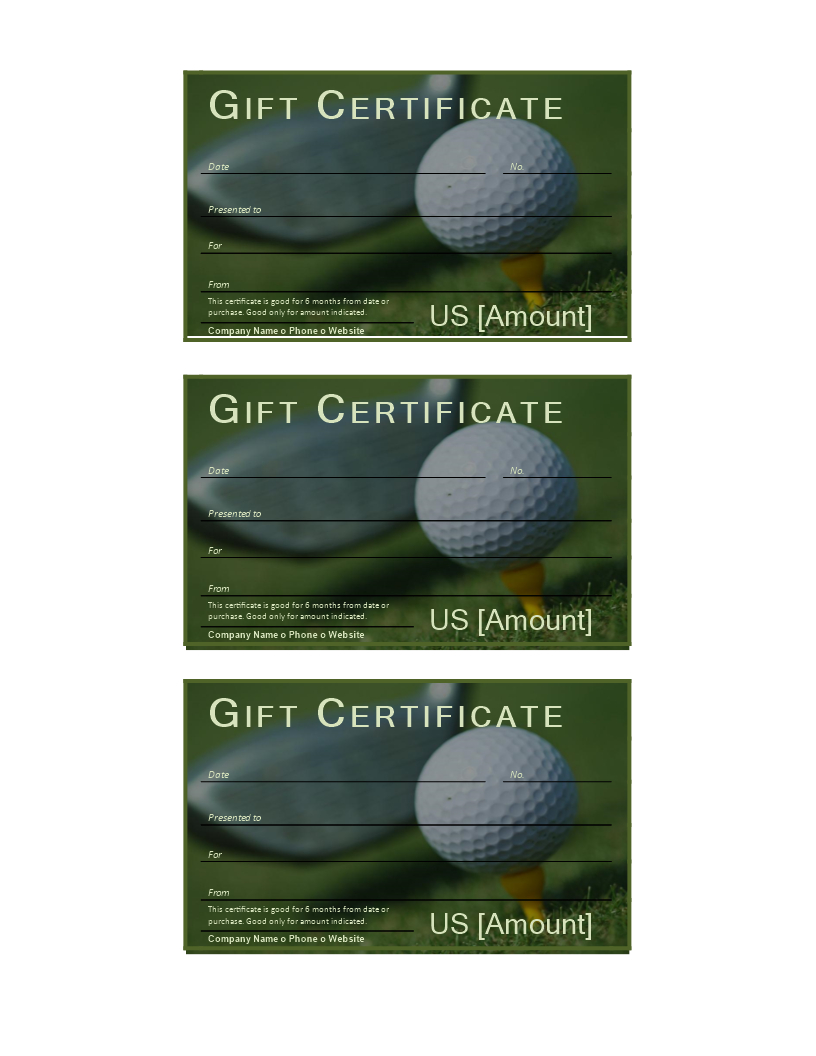 Golf Gift Certificate | Templates At Allbusinesstemplates With Regard To Golf Certificate Template Free