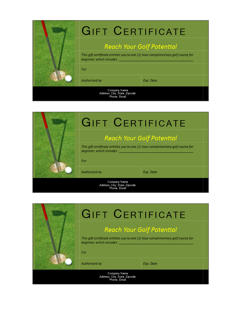 Golf Gift Non Cash Value Voucher | Templates At Within Golf Gift Certificate Template