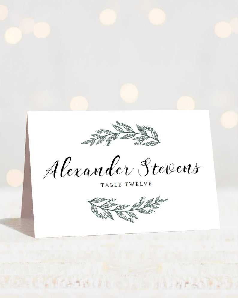 Greenery Wedding Place Cards Template Printable Name Cards Botanical  Wedding Name Cards Wedding Printables Green Wedding Seating Cards Rb1 Intended For Table Name Card Template