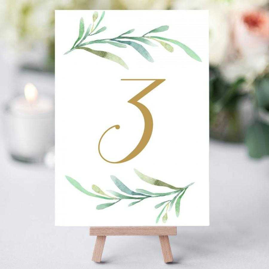 Greenery Wedding Table Numbers Template, Printable Reception Within Table Number Cards Template