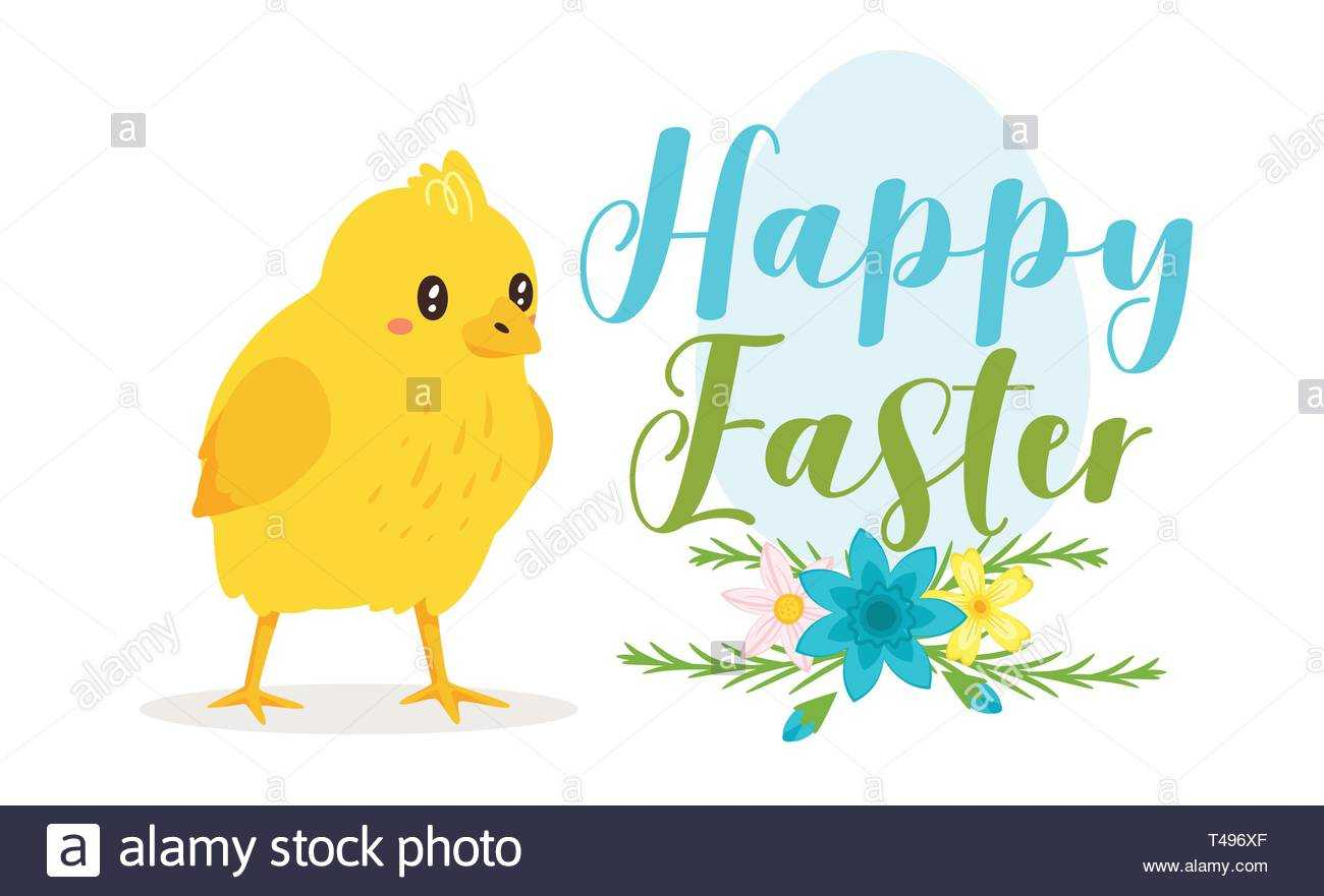 Happy Easter Design Template For Greeting Card Or Banner Intended For Easter Chick Card Template