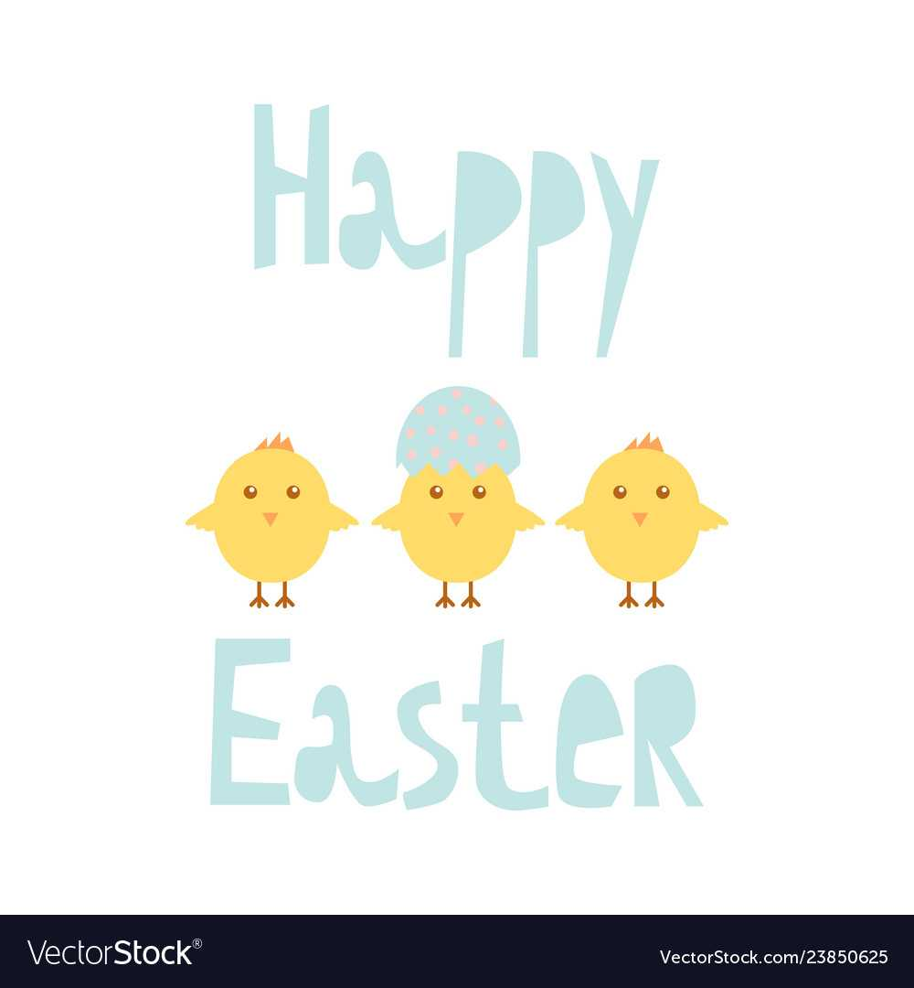 Happy Easter Greeting Card Template With Chicks Regarding Easter Chick Card Template