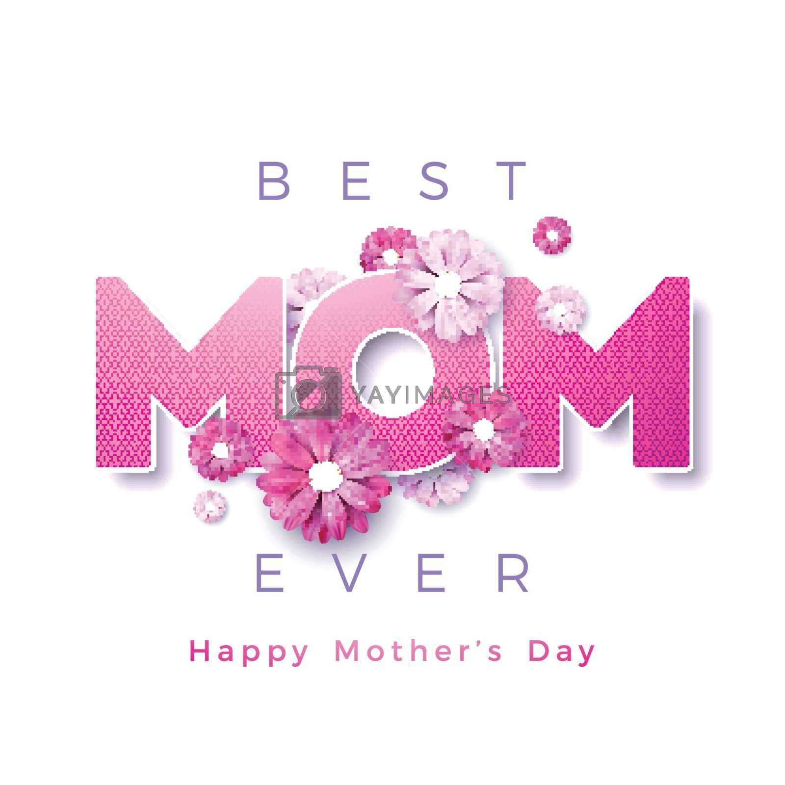 Happy Mothers Day Greeting Card Design With Flower And Best Regarding Mom Birthday Card Template