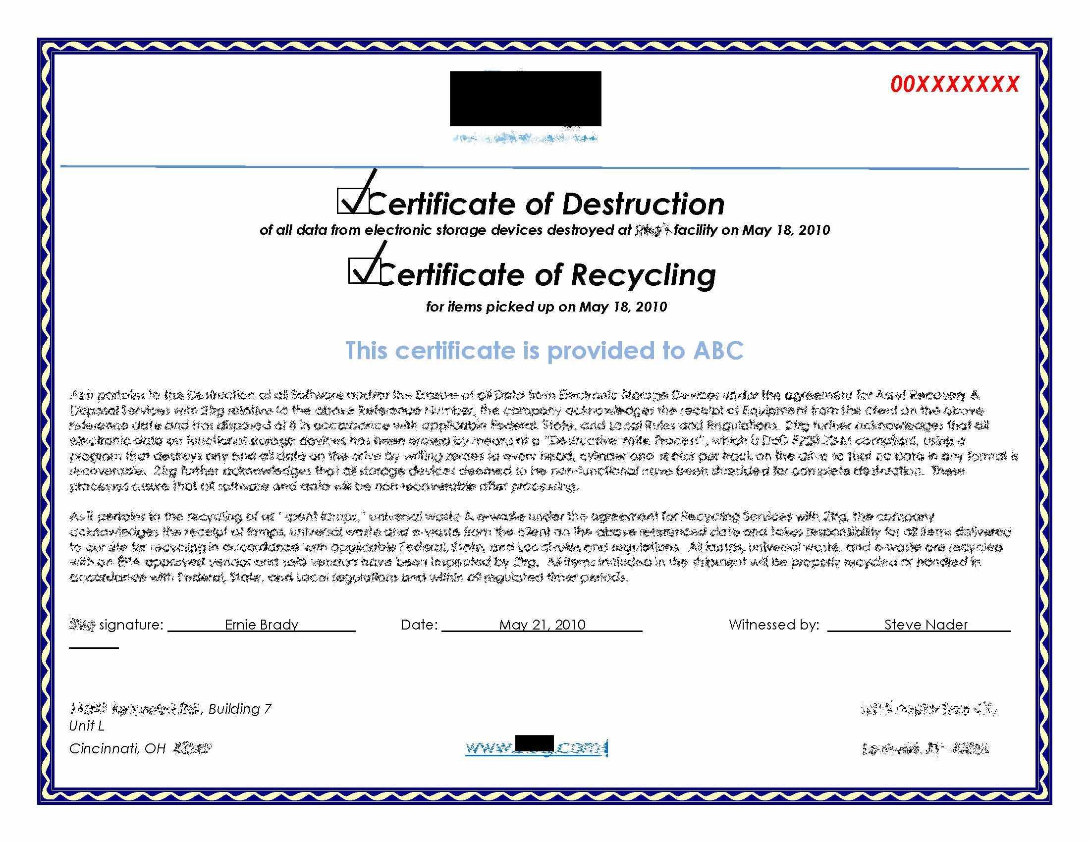 Hard Drive Destruction Certificate Template ] - Certificate Intended For Hard Drive Destruction Certificate Template
