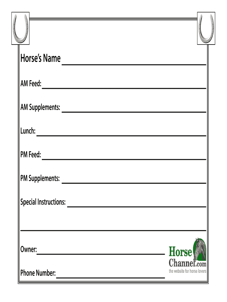 Horse Stall Cards Templates - Fill Online, Printable Intended For Horse Stall Card Template