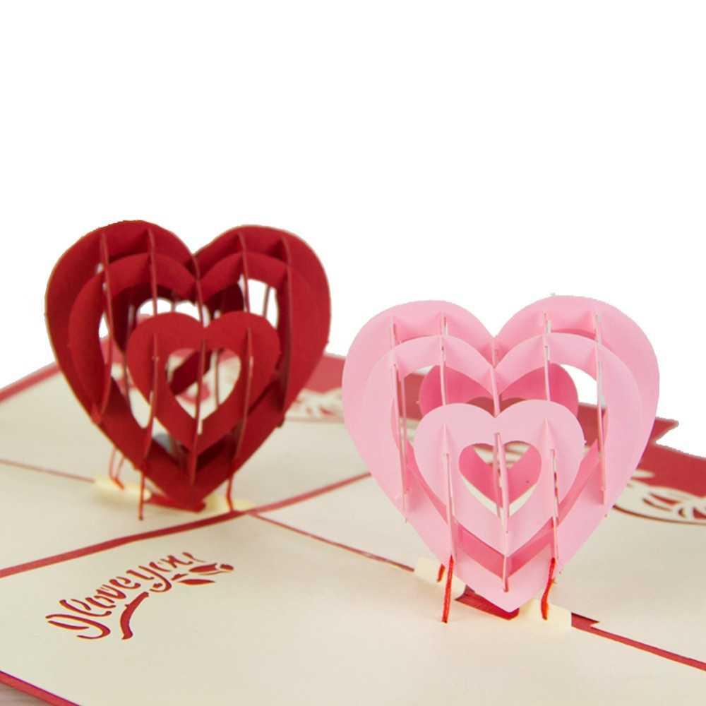 "I Love You"" Red Heart Design Handmade Creative Kirigami In I Love You Pop Up Card Template"