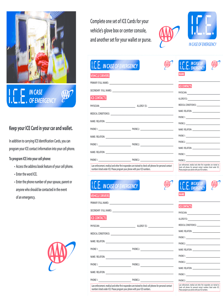 Ice Cards - Fill Online, Printable, Fillable, Blank | Pdffiller Throughout In Case Of Emergency Card Template