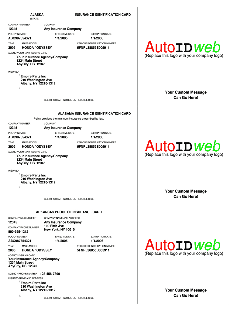 Insurance Card Template - Fill Online, Printable, Fillable Throughout Free Fake Auto Insurance Card Template