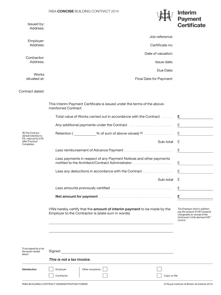 Interim Certificate - Fill Online, Printable, Fillable Regarding Construction Payment Certificate Template